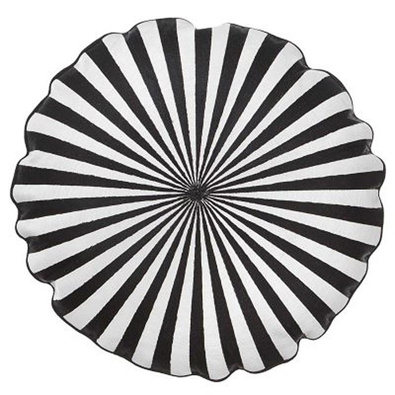 Rundes Kissen, schwarz weiß