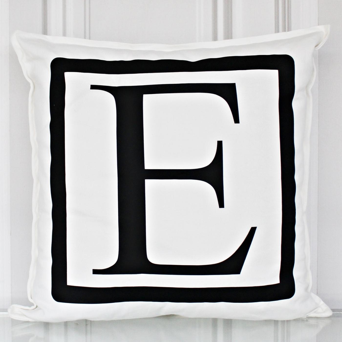 Kissenbezug, Monogramm E, weiß