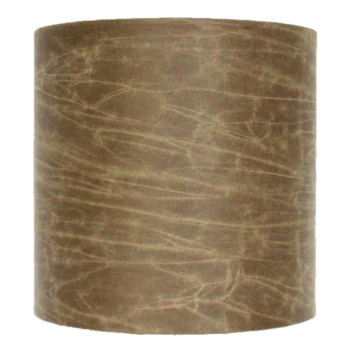 Lampenschirm S, Zylinder, Lederoptik, braun-grün