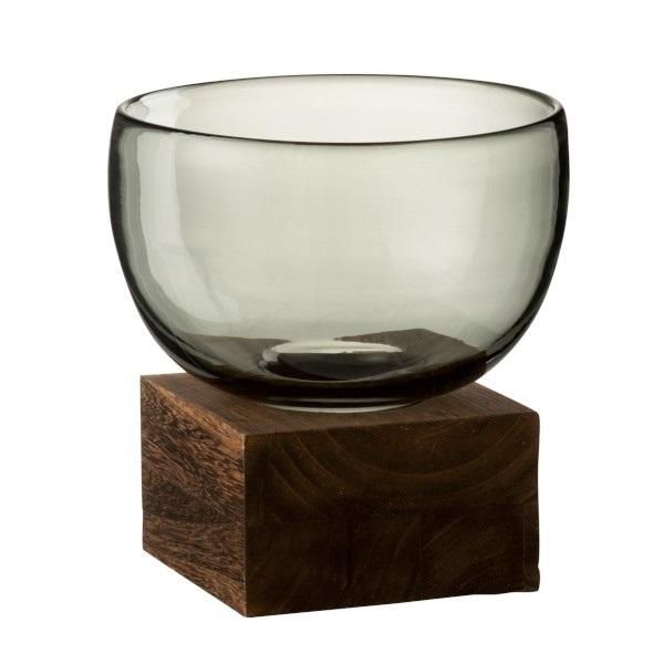 Windlicht, Vase,  grau mit Holzsockel