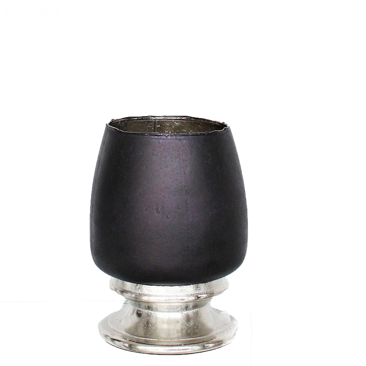 Windlicht, M, schwarz/silber