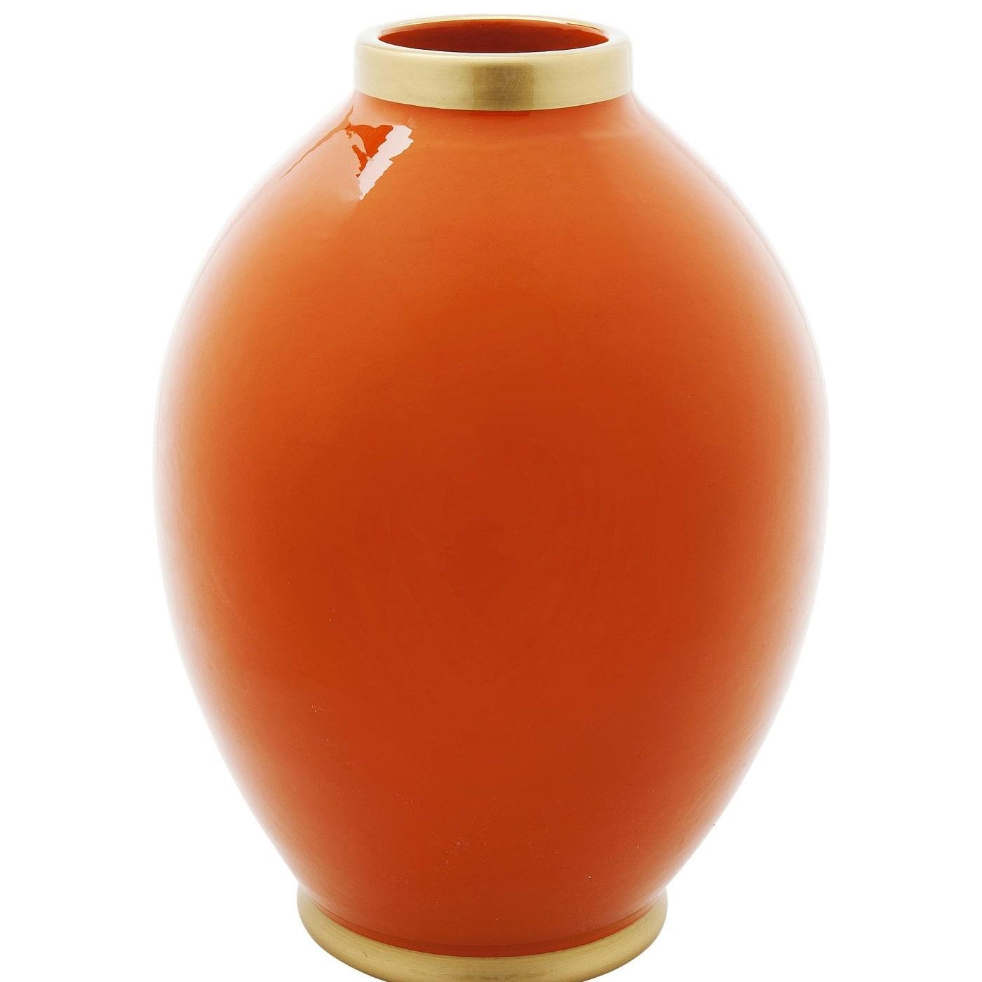 Vase, Orange mit Goldrand