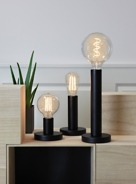 Lampenfuß für LED, schwarz, metall, M