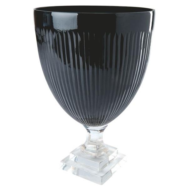 Pokal aus Glas, schwarz/klar