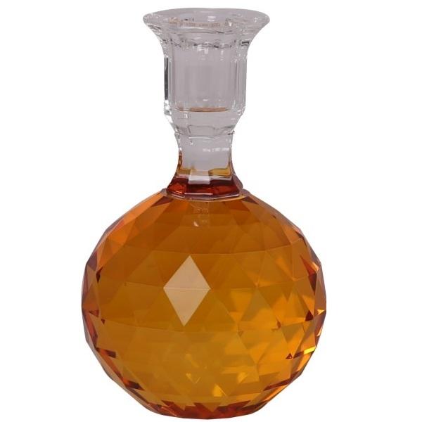 Kristallkerzenhalter mit Schliff, orange