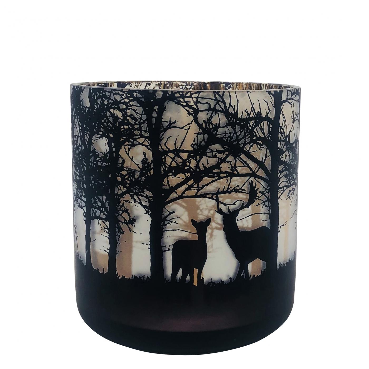 Windlicht schwarz weiß mit Hirschen, L