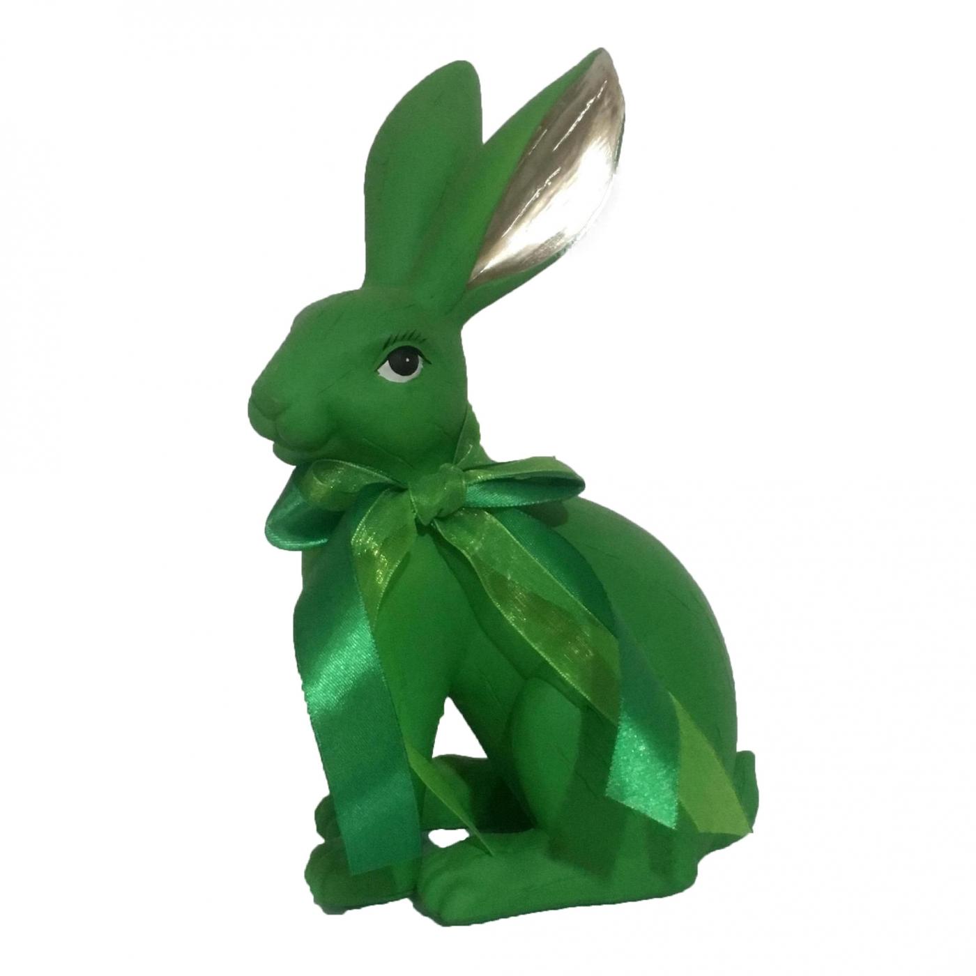 Hase mit Schleife, grün/gold, 36 cm