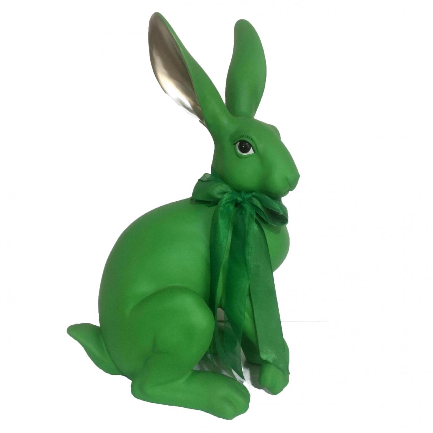 Hase mit Schleife, grün/gold, 42 cm