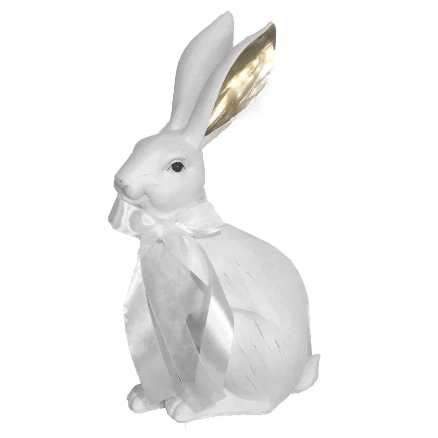 Hase mit Schleife, weiß/gold, 36 cm