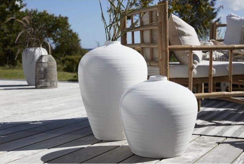 Vase, 39 cm, weiß