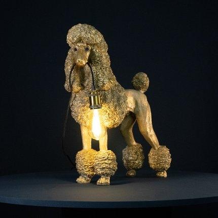 Pudel mit Lampe, XL, gold