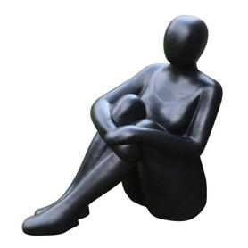 Dekofigur, Sitzende Frau, schwarz
