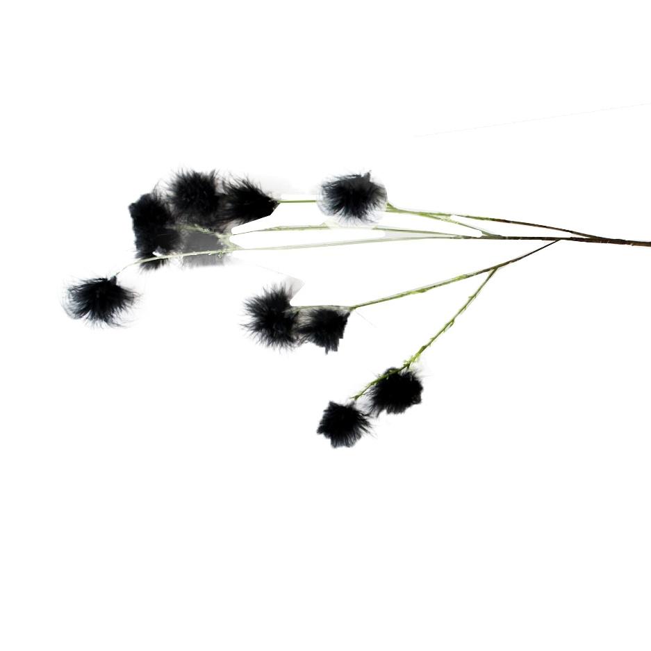 Dekozweig mit schwarzen Puschelblüten