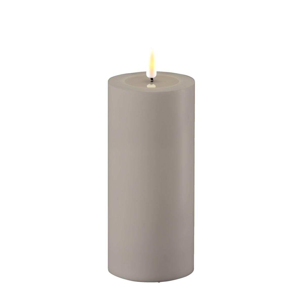 LED-Kerze, OUTDOOR, 15 cm , grau