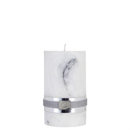 Kerze, weiß-grau-marmoriert