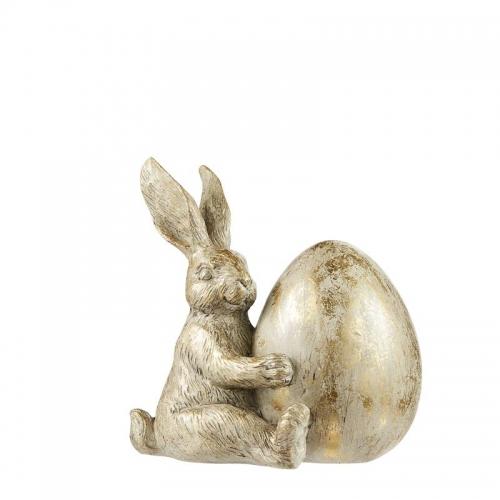 Hase mit Ei, hellgold, 18 cm