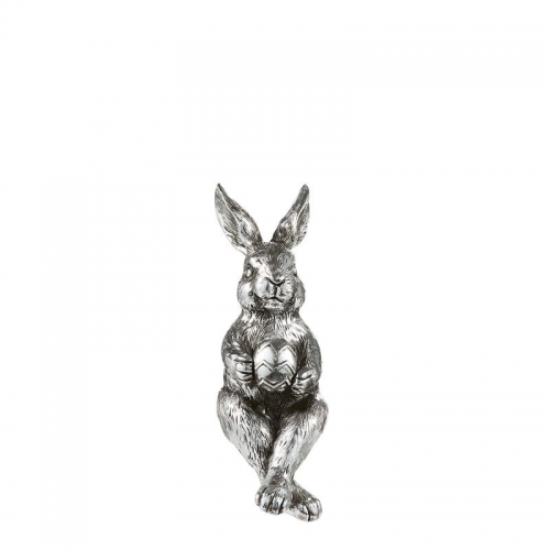 Hase, Kantenhocker, silber, 16.5 cm